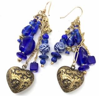 LUX BOND & GREEN Blue Beaded Dangle Earrings w box
