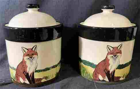 ZEPPA Signed Lot 2 Painted Fox Jars