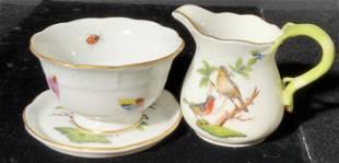 Set 3 HEREND HUNGARY Bird Motif Porcelain Tea Set