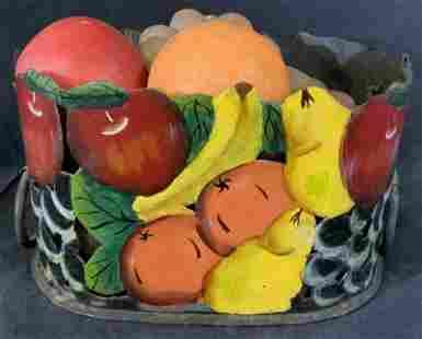 Antique Toleware Basket w Vintage Fruits