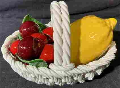 Ceramic Lemon and Cherries in Basket