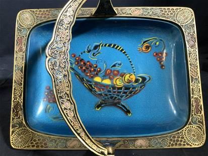 Collectible Brass & Enamel Footed Table Basket,