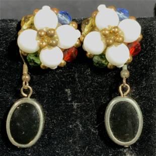 Vintage Lot 5 Pair Beaded Earrings with Stones