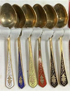 WILLY Co. Set 6 Enamel Demitasse Spoon Set, Box