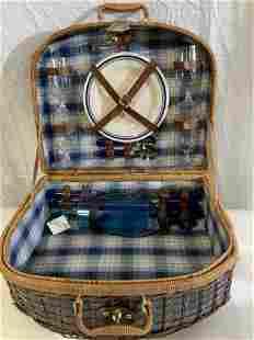 Collectible Wicker Picnic Basket Set