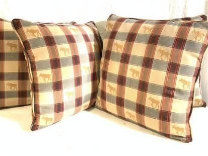 Plaid Moose Motif Toss Pillow Set 4