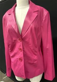 LAFAYETTE 148 Luxury Pink Leather Jacket, Plus Sz
