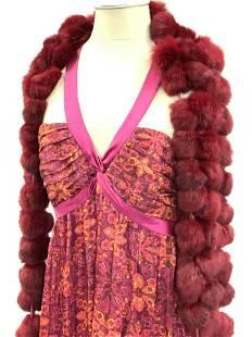 Luxe LAUNDRY Long Evening Dress + Rabbits Fur