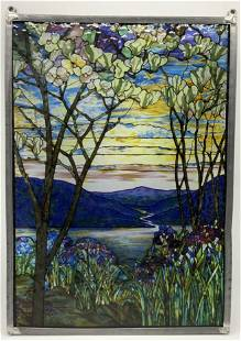 Stained Glass Window River Valley Scene