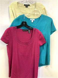 3 Ladies Vintag Short Sleeve Sweaters, E Tracy