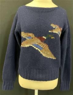 Vntg RALPH LAUREN Hand Knit Wool Duck Sweater
