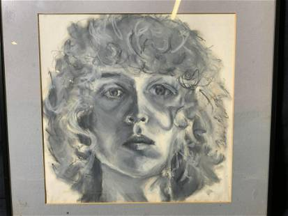Framed Monochromatic Portrait Pastel on Paper