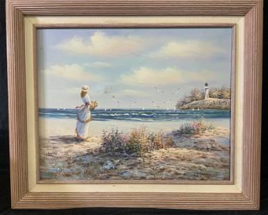 Framed Beachfront Oil on Canvas