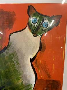 DAVID GEORGE Signed Siamese Cat Artwork
