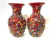 Pair MURANO Art Glass Vases