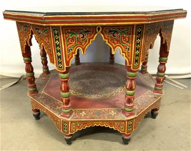 Vntg Handpainted Octagonal Moroccan Side Table