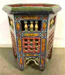 Vintage Hand Painted Low Moroccan Side Table