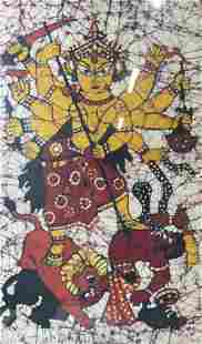 Durga Deity in Battle Framed Artwork
