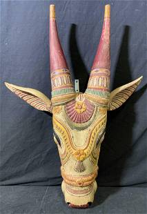 Carved Wooden Cow Head Wall Hanging Sculpture