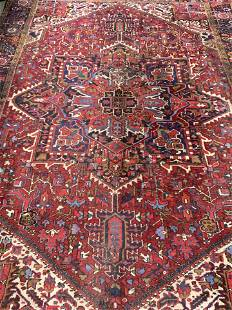 Antique Oversized Handmade Wool Area Rug