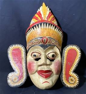Carved Wooden Hand Painted Southeast Asian Mask