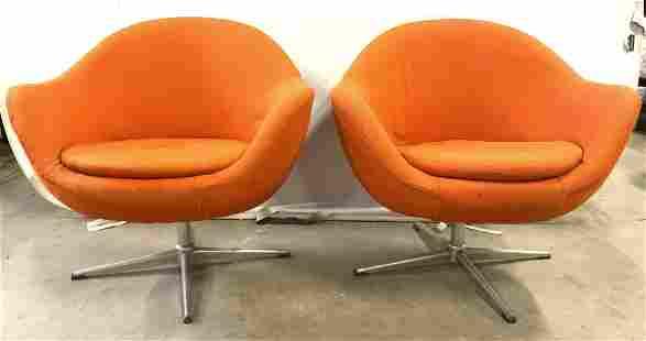 Pr Orange Mid Century Modern Swivel Chairs