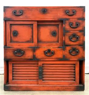 Vintage Red Wooden Console Chest