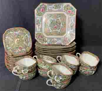 Grp Lot Vtg Hand Painted Asian Porcelain Tea Set