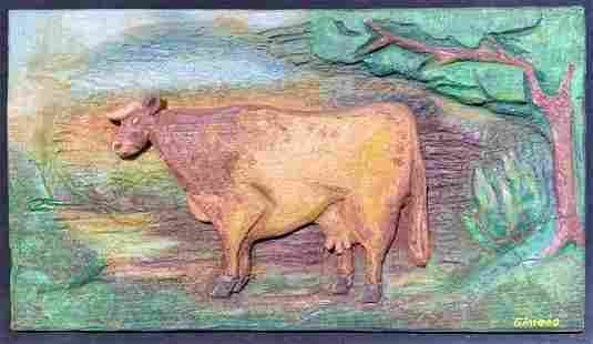 GIMENO Hand Carved & Painted Cow Wood Relief Art