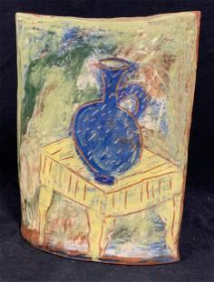 Abstract Ceramic Vessel W/ Painted Vase