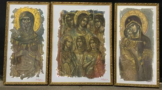 SIGNED Set of 3 Textured Biblical Icons
