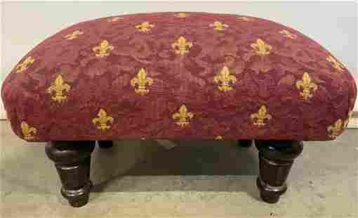 Vintage Low Upholstered Footstool W Feet
