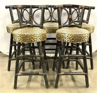 Set 5 Leopard Print Wooden Stools W Backrests