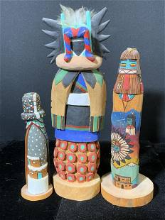 Lot 3 Carved Wooden Native American Katchina Dolls