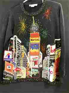 Happy New Year Bead & Embroidered Sweater