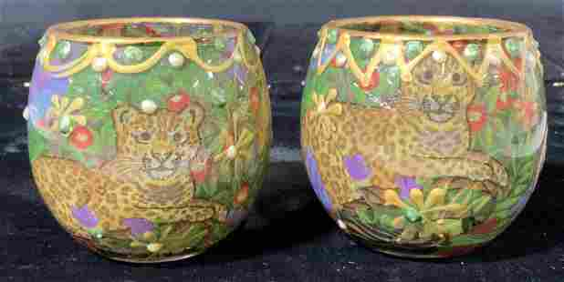Pair Signed Hand Painted Glass Tea Candle Holders