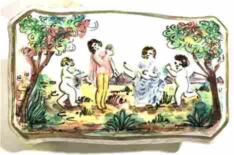 Signed Capodimonte Lidded Ceramic Box, IT