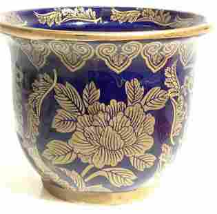 Hand Panted Cobalt Blue and Gold Small Planter
