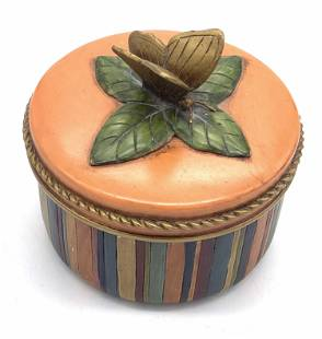 Hand Painted Ceramic Butterfly Trinket Box, Lid