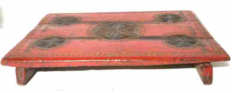 Vintage Handmade Carved Wooden Serving Tray