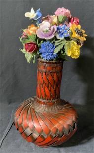 Hand Painted Ceramic Floral Bouquet W/ Rattan Vase