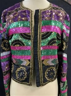 Laurence Kazan Silk Sequin Cocktail Jacket, 1980s