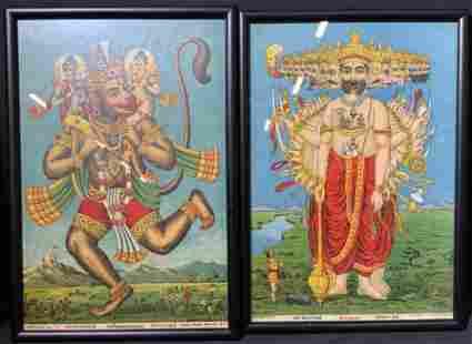 Pair of Hindu Lithographs of Hanuman & Raja Ravi