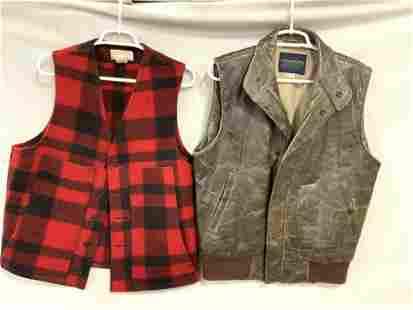 Men's Vintage Wool, Leather Vests