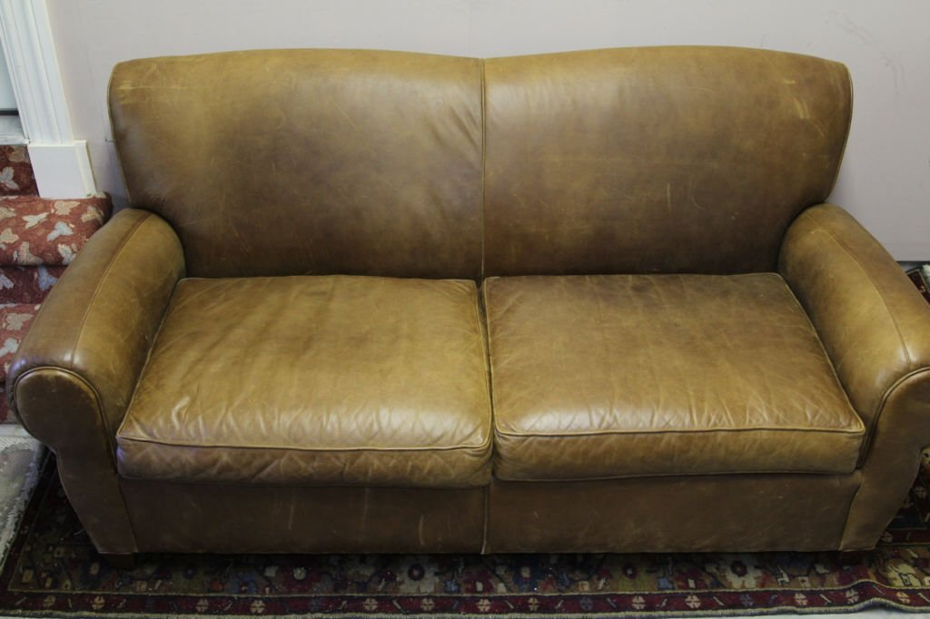 Pottery Barn by Mitchell Gold Leather Love Seat