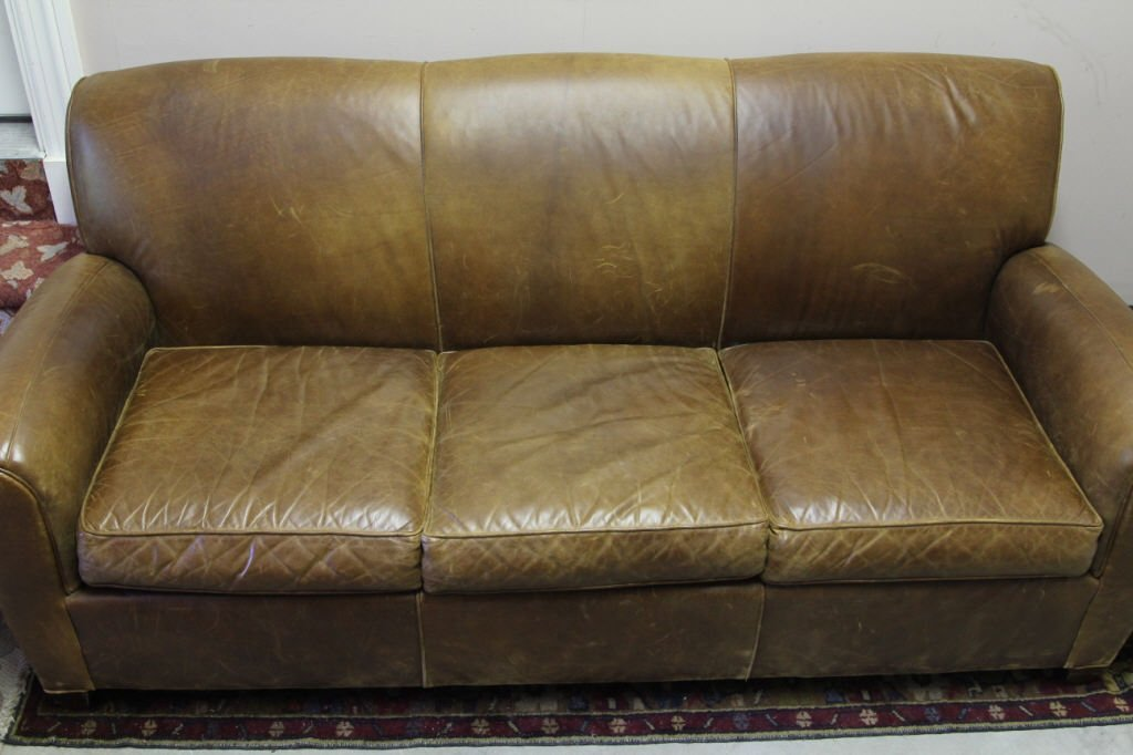 Pottery Barn by Mitchell Gold Leather Sofa
