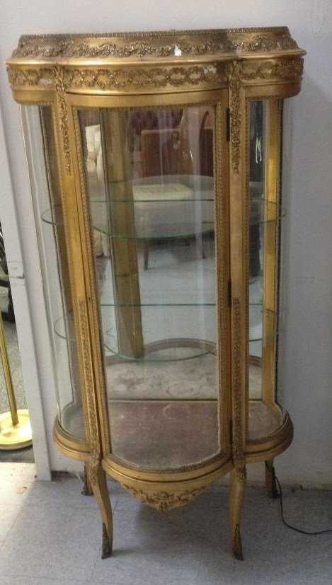 - Antique French Style Gold Leaf Curio Cabinet