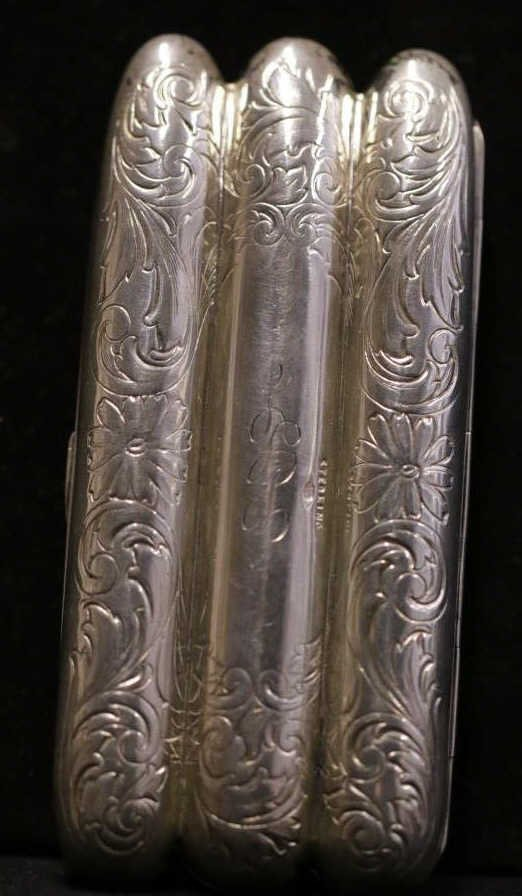 Sterling Etched & Engraved Miniature Cigar Case