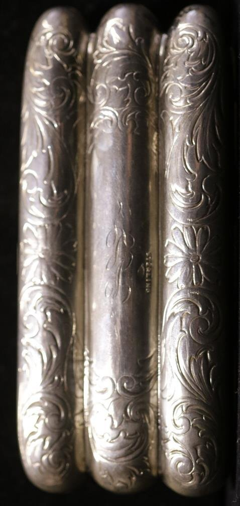 Sterling Etched & Engraved Miniature Cigar Case - 2