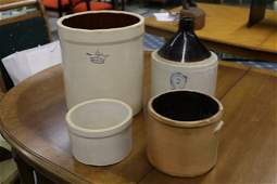 Four Piece Salt Glazed Stoneware Crock & Jug